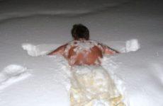После бани в снег